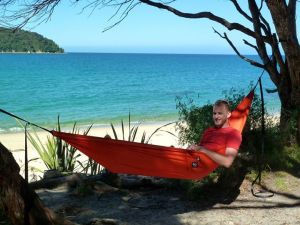 Bryan's first use of the burnt orange hammock I got him for his last birthday.