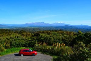 Our car and the North Island...Tongariro in the background.