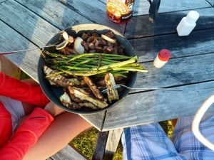 Fantastic grilled dinner made by us and shared on one plate.