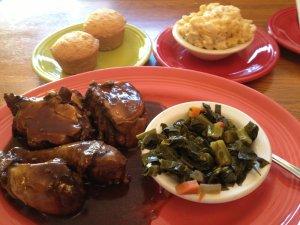 Caribbean jerk chicken and collards!