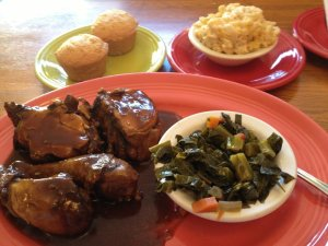 Caribbean jerk chicken and collards!