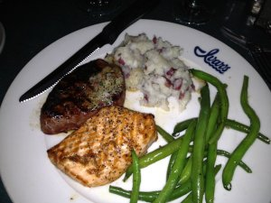 Surf and turf #1 for the week.  Loved the salmon and the company.