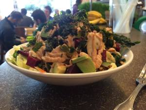 Look at that baby: quinoa, kale, beets, avocado, carrots, delicious dressing.  I digged it.