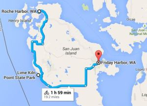 Nearly 20 miles from Roche to Friday Harbor with a long stop at Lime Kiln