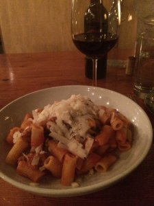 Bryan's very much enjoyed spicy sausage rigatoni with more of that delicious cheese!
