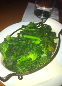 Healthy and garlicky sauteed rapini.
