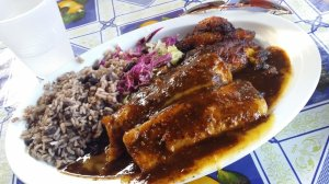 Bryan's jerk chicken enchiladas with rice and beans and plantains.