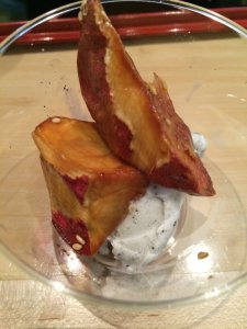 Fried honey sweet potatoes over black sesame ice cream!