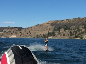 Bryan taking a turn on the lake.