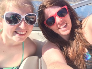 Polly and Valerie enjoying the boat ride