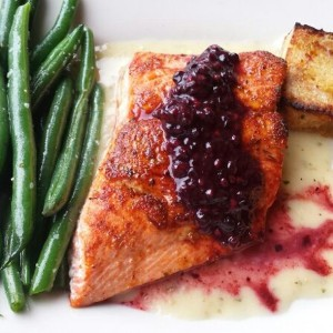 This was a bomb salmon meal; cedar-planked Alaskan sockeye with a blackberry sauce, hazlenut sauce underneath, sorrel cornbread pudding and asparagus.