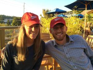Dining on the deck in our Miller hats.