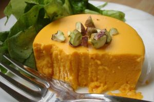 Definitely the most interesting part of the meal was my first savory flan (delicata squash)
