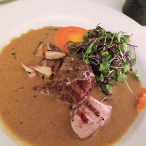 Their signature dish of roasted rabbit, stuffed with pancetta and porcini mushrooms and herbs, with a delicious microgreen topping and oh that meaty mushroomy sauce
