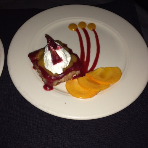 Persimmon and Blood Orange Bread Pudding, Cranberry Pear Compote, Caramel Sauce