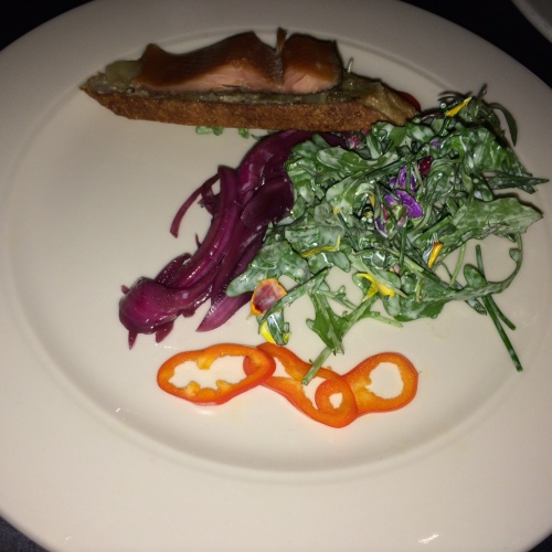Smoked Red Trout, Fennel Jam, Pickled Red Onion, Green Goddess Herb Salad, Artisan Bread