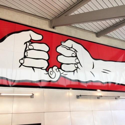 Finger art at Capitol Hill Station