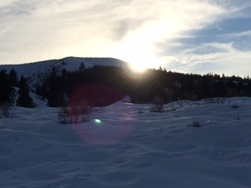 The sun just setting over the ridge.