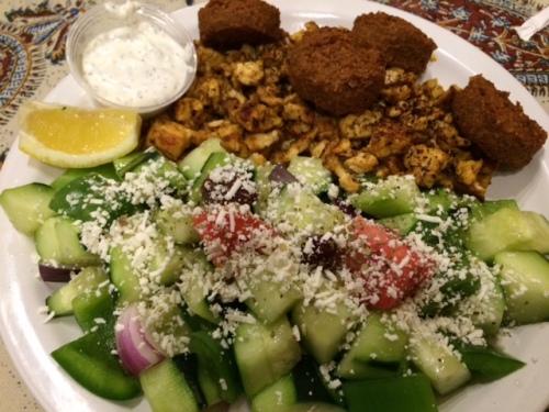 Pretty good Middleeastern food at Kabob House; falafel, chicken schwarma, and a huge greek salad.