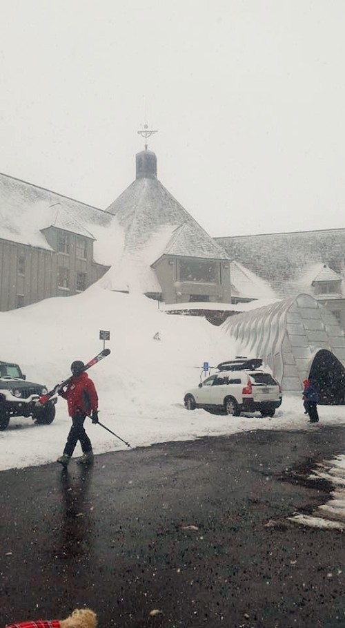 We found snow at Timberline Lodge (aka Outlook Hotel from The Shining)