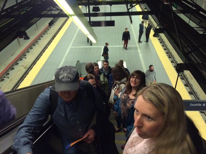 The crew headed up UW station