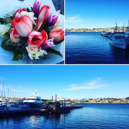 Flowers for my Polly and a walk along Lake Union on a wonderfully clear day.