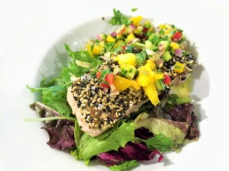 Really good and simple tuna with a mango salsa.