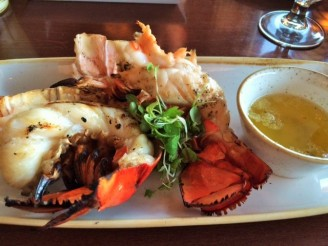 Grilled and split lobster tail easy for sharing.