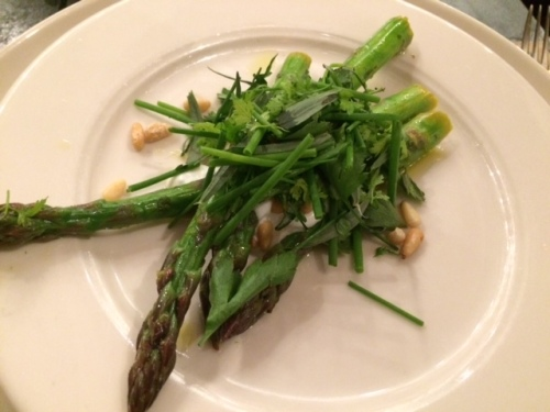 The bomb dot com asparagus with chevre crema and herbs.