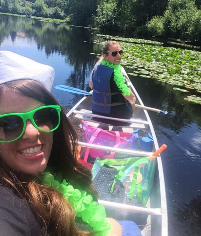 Bridesmaids in a boat.