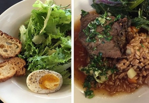Fantastic salad on the left and short ribs, gremolata, and farro on the right.