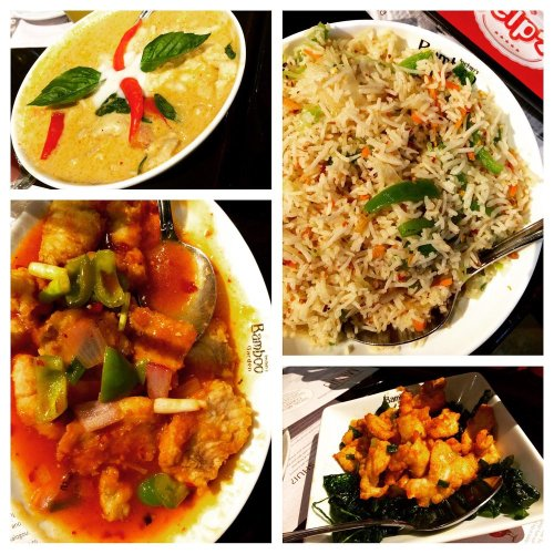 A variety of the foods; fried sweet and sour fish, garlic rice, fried chicken and chicken red curry.
