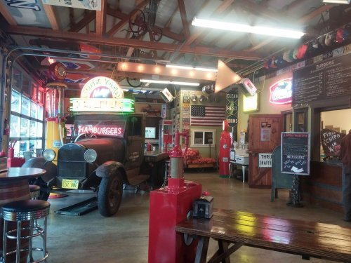 What a crazy place. Garage turned grill with some great food and funky treasures.