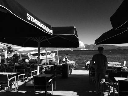 Starbucks' waterfront view in Bodrum