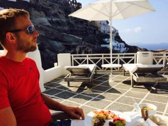 Bryan enjoying the view and breakfast