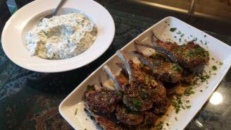 Fantastic lamb chops with tzatziki.