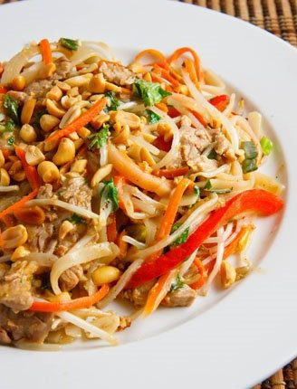 Peanut noodles and pork.