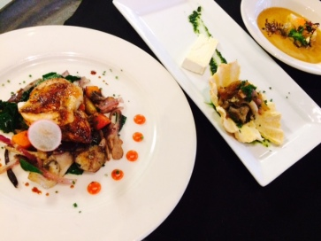FareStart delicious creamy oyster stew (minus the oysters), mushroom tartlet and roasted chicken with vegetable hash.