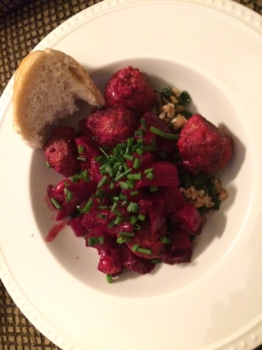 This was delicious.  Bed of creamy farro with kale on the bottom of those beet red meatballs.