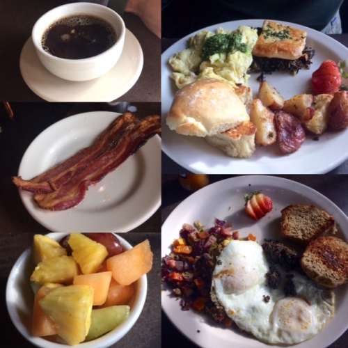 Fantastic brunch at Macrina of breakfast pot pie, squash and brussels hash, fruit and bacon!