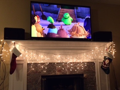 Decorations up while Bryan makes me watch the movie Angry Birds