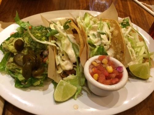 Yummy fish tacos on a rainy night.