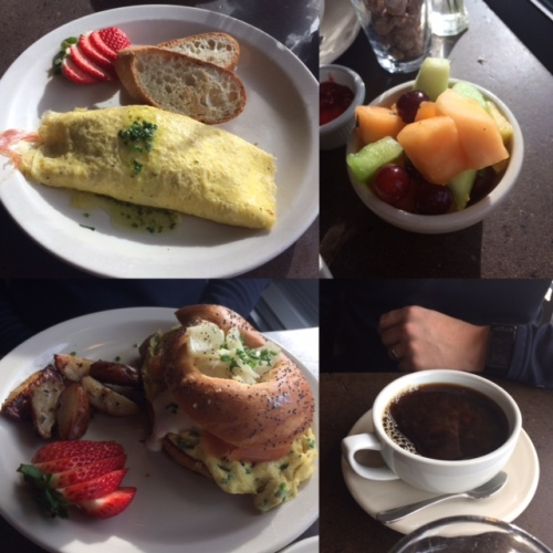 Macrina brunch in the sunlight. Amazing prosciutto, blue cheese and pear omelet for me.