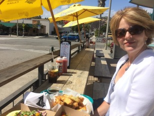 Enjoying one last fish taco lunch