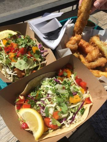 Amazing fish tacos and veggie tempura