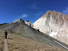 Hiking down from the pass