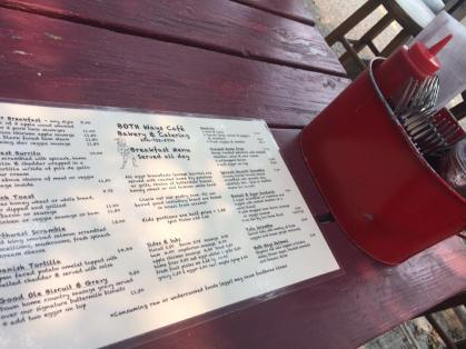 Menu hasn't changed at Both Ways Cafe