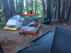 Five tents on one campsite