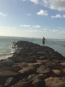 Walking the rocky pier
