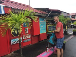 Bryan posing in front of juice truck